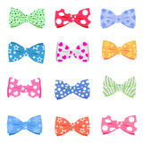 Set bowtie. Illustration set of colorful bow tie in different colors Royalty Free Stock Photography