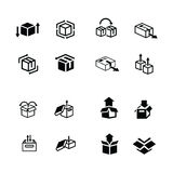 Set of box and arrow icons Stock Photo