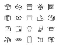 Set of box icons in modern thin line style. Stock Image