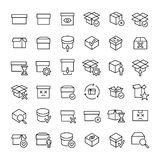 Set of 49 box thin line icons. Set of 46 box thin line icons. High quality pictograms of package. Modern outline style icons collection. Container, delivery Stock Illustration