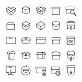 Set of 25 box thin line icons. High quality pictograms of package. Modern outline style icons collection. Container, delivery, cargo, shipping, etc Stock Photography