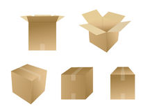 Set of boxes. Set of cardboard boxes. Vector file available Royalty Free Stock Image