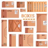 Set of boxes, cargoes and boxes for sending and carriage with markings. Vector illustration stock illustration