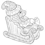 Adult coloring book,page a Christmas dog on the sleigh with decoration ornaments for relaxing.Zentangle. royalty free illustration