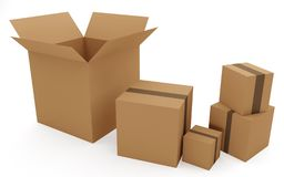 Set of boxes for goods and parcels. Service of delivery of gifts for holidays stock illustration