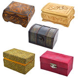 Set of boxes isolated. Three wooden and two fabric boxes isolated Royalty Free Stock Image