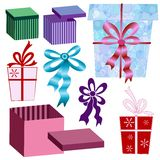 Set boxes and ribbons Royalty Free Stock Photo