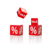 Set of boxes with sale and percent sign. Shopping, retail and merchandising concept - set of boxes with sale and percent sign Royalty Free Stock Images