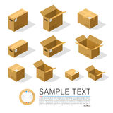 Set of boxes to send isometric. Vector Illustration Royalty Free Stock Photos