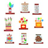 Set of boxes and vases with sweets royalty free illustration