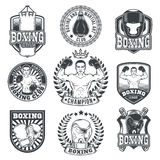 Set boxing badges, stickers isolated on white. Set of boxing emblems, badges, stickers isolated on white Royalty Free Stock Image
