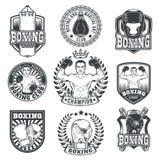 Set boxing badges, stickers isolated on white. Royalty Free Stock Image