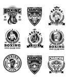 Set boxing badges, stickers isolated on white. Set of boxing emblems, badges, stickers isolated on white Stock Photos