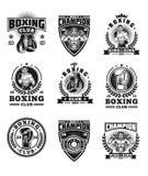 Set boxing badges, stickers isolated on white. Stock Photos