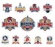 Set boxing badges, stickers isolated on white. Set of vector boxing emblems, badges, stickers isolated on white Royalty Free Stock Photo