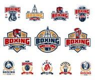 Set boxing badges, stickers isolated on white. Royalty Free Stock Photo