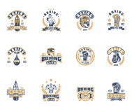 Set boxing badges, stickers isolated on white. Royalty Free Stock Images