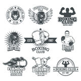 Set boxing badges, stickers isolated on white. vector illustration
