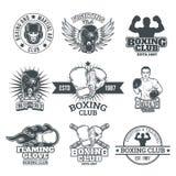 Set boxing badges, stickers isolated on white. Stock Image