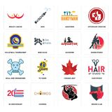 Set of boxing club, , 20 anniversary, canada leaf, skull and crossbones, gangster, volleyball tournament, handyman, breast cancer. Set Of 16 simple  icons such Stock Photography