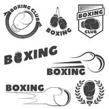 Set of boxing club emblems. Boxing gloves. Vector illustration Royalty Free Stock Photography