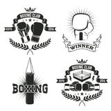 Set of the boxing club labels and badges. Vector illustration Royalty Free Stock Image