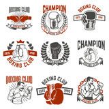 Set of boxing club labels. Design elements for logo, label, embl. Em, sign. Vector illustration Royalty Free Stock Photos