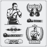 Set of boxing club labels, emblems, badges, icons and design elements. Vintage style. Monochrome illustration Stock Image