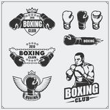 Set of boxing club labels, emblems, badges, icons and design elements. Vintage style. Monochrome illustration Royalty Free Stock Photo