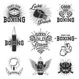 Set of the boxing club labels, emblems and design elements. Boxing gloves.  Lucky punch. Set of design elements in vector Stock Image