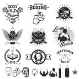 Set of the boxing club labels, emblems and design elements. Vector illustration Stock Photography