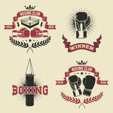 Set of the boxing club labels, emblems and design elements. Stock Photo