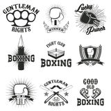 Set of the boxing club labels, emblems and design elements. Vector illustration Stock Photo