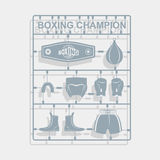 Set Boxing equipment. Plastic model kits. Royalty Free Stock Photography