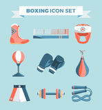 Set of boxing equipment vector colorful design elements  on blue background. Vector Illustration Royalty Free Stock Images