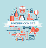 Set of boxing equipment vector colorful design elements isolated on blue background.  Royalty Free Stock Photography