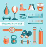 Set of boxing equipment vector colorful design elements isolated on blue background. Vector Illustration Stock Photo