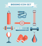 Set of boxing equipment vector colorful design elements isolated on blue background. Vector Illustration Royalty Free Stock Photos