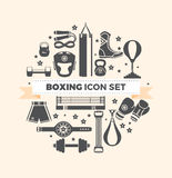 Set of boxing equipment vector monochrome design elements isolated on beige background. Vector Illustration Stock Image