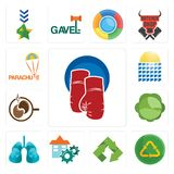 Set of boxing gloves, recycle reuse uce, recycle, facility, lungs, cabbage, coffe, solar panel, parachute icons. Set Of 13 simple editable icons such as boxing Royalty Free Stock Photo