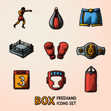 Set of boxing hand drawn color icons - gloves, shorts, helmet, round card, boxer, ring, belt, punch bags. Vector Royalty Free Stock Photography