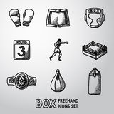 Set of boxing hand drawn icons - gloves, shorts Royalty Free Stock Photo
