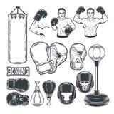 Set boxing icons isolated on white. Royalty Free Stock Photo