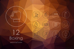 Set of boxing icons. Boxing modern icons for mobile interface on blurred background Royalty Free Stock Images