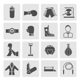 Set of Boxing Icons. Set of boxing winner referee equipment weights icons in gray color on grey squares vector illustration Stock Photos