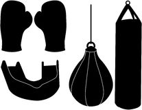Set of Boxing Silhouettes Royalty Free Stock Image