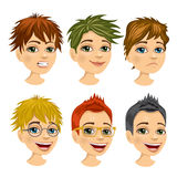 Set of boy avatar with different hairstyles Stock Photo