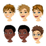 Set of boy avatar expressions with different hairstyles Royalty Free Stock Photos