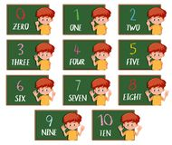 Set of boy counting number. Illustration royalty free illustration