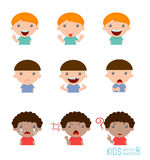 Set of boy expressions on white background,Expression set of kids Royalty Free Stock Photo